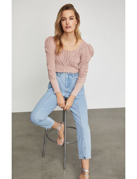 Draped Shoulder Plaited Sweater by Bcbgmaxazria