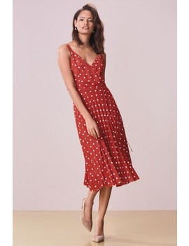 Terracotta Spot Pleated Wrap Dress by Next