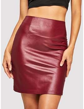 Zipper Up Pu Skirt by Romwe