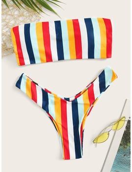 Striped Bandeau With High Cut Bikini Set by Romwe