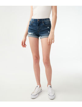 Flex Effects High Waisted Denim Midi Shorts by Aeropostale