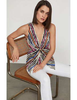 Striped Twist Front Top by Bcbgmaxazria