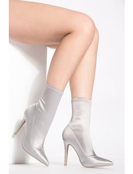Silver Satin Single Sole Ankle Booties by Ci Cihot