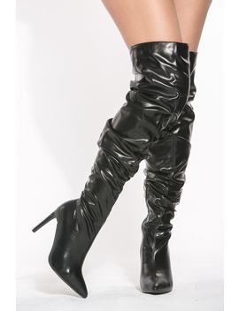 Black Faux Leather Thigh High Slouch Boots by Ci Cihot