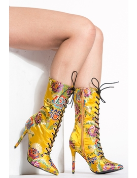 Yellow Floral Print Lace Up Booties by Ci Cihot