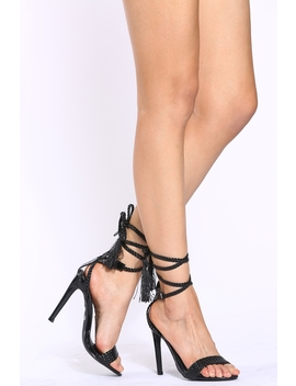 Black Faux Patent Wrap Around Single Sole Heels by Ci Cihot