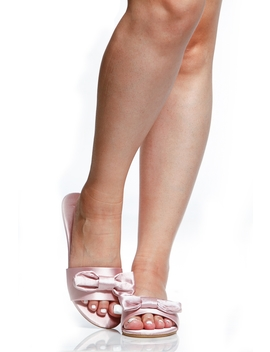 Pink Satin Slide Sandals by Ci Cihot