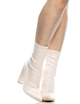 Nude Satin Chunky Pointed Toe Ankle Booties by Ci Cihot