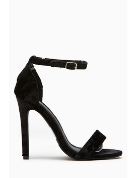 Black Velvet Single Sole Ankle Strap Heels by Ci Cihot