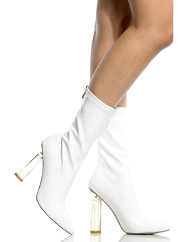 White Patent Leather Calf Length Translucent Heels by Ci Cihot