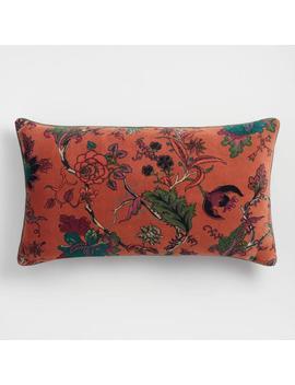 Rust Floral Velvet Lumbar Pillow by World Market