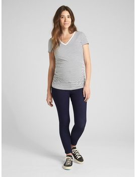 Maternity Inset Panel Knit Favorite Ankle Jeggings by Gap