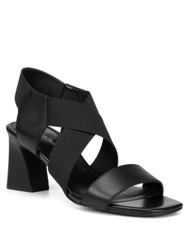 Vikki Leather &Amp; Stretch Dress Block Heel Sandals by Donald Pliner