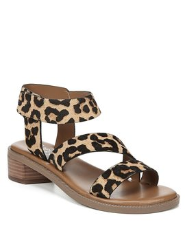 Landry Leopard Print Calf Hair Block Heel Sandals by Franco Sarto