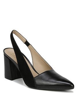Hannie Leather And Suede Slingback Pumps by Naturalizer