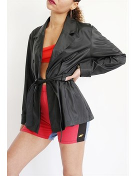 90s Black Pleather Trench Jacket by Orenda Lou