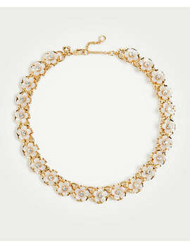 Tortoiseshell Print Flower Pearlized Necklace by Ann Taylor