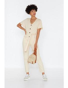 Let Me Button Down Gently Linen Jumpsuit by Nasty Gal