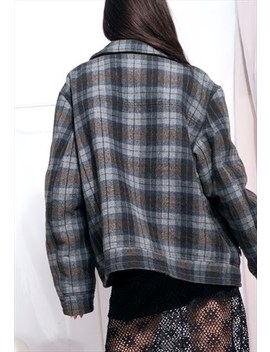 Vintage Lee Cooper Bomber Jacket 90s Plaid Wool Coat by Lee