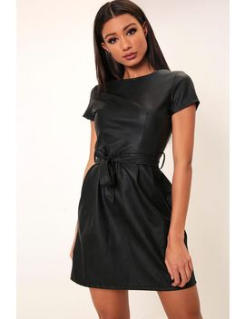 Black Belted Faux Leather Dress by I Saw It First