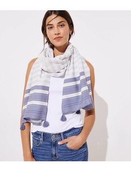 Tasseled Mixed Stripe Scarf by Loft