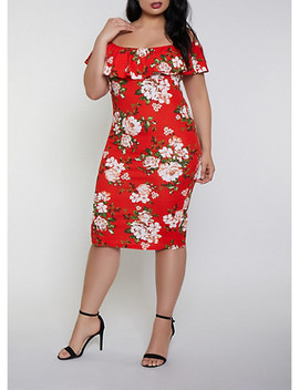 Plus Size Floral Off The Shoulder Dress | 0390075179116 by Rainbow