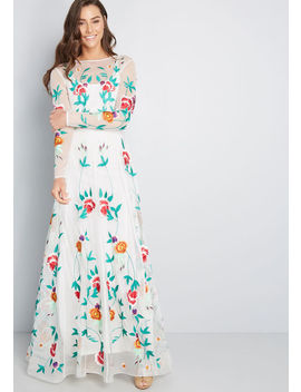 Growing Adoration Embroidered Maxi Dress by Modcloth