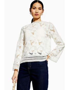 lace-floral-long-sleeve-top by topshop