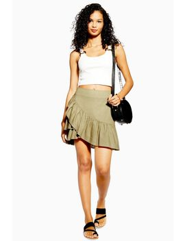 Sage Linen Rich Wrap Mini Skirt by Topshop