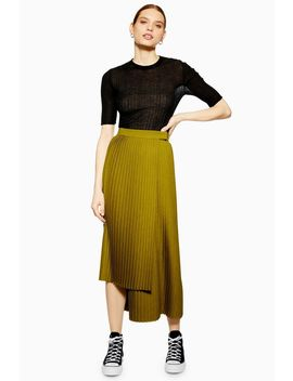 **Asymmetric Pleated Skirt By Boutique by Topshop