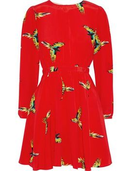 gathered-printed-silk-crepe-de-chine-mini-dress by diane-von-furstenberg