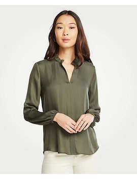 ruffle-collar-split-neck-blouse by ann-taylor