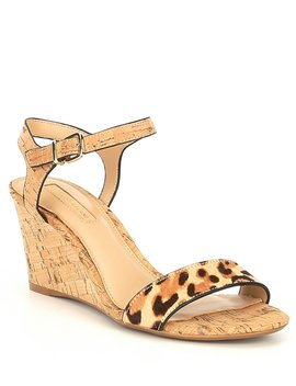 Floraina Two Leopard Print Leather Cork Wedge Sandals by Antonio Melani