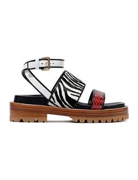 Fussbett Zebra Print Calf Hair, Leather And Python Sandals by Marni