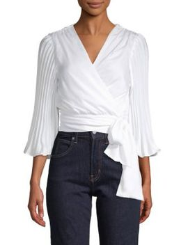 Tie Front Pleated Sleeve Top by Ava & Aiden