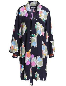 Draped Printed Silk Crepe De Chine Mini Dress by Tibi