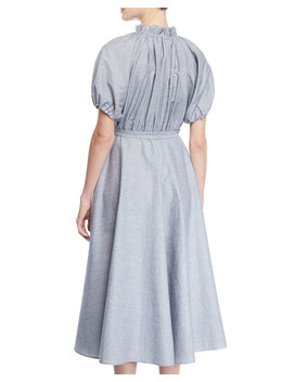 Ruffled Neck Gathered Top Belted Slub Linen Midi Dress by Co
