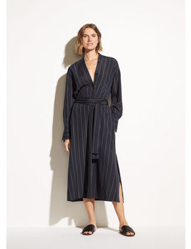 Bold Stripe Belted V Neck Dress by Vince