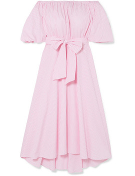 Off The Shoulder Belted Striped Cotton Poplin Midi Dress by Paul & Joe