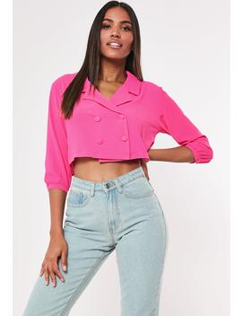 Pink Double Breasted Cropped Blouse by Missguided