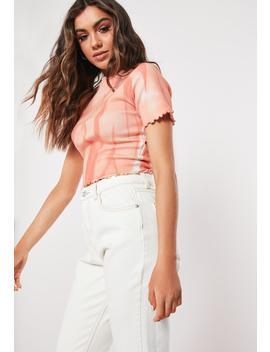 Pink Tie Dye Lettuce Hem T Shirt by Missguided