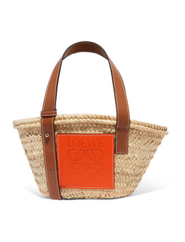 + Paula's Ibiza Small Leather Trimmed Raffia Tote by Loewe