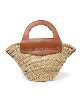 cabas-mini-leather-trimmed-straw-tote by hereu