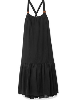 leilei-faux-leather-trimmed-lyocell-midi-dress by tibi
