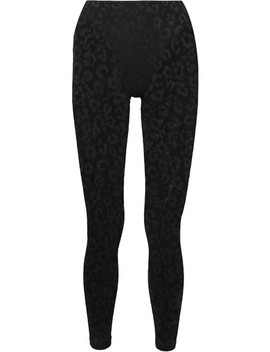 Leopard Print Stretch Mesh Leggings by Adam Selman Sport