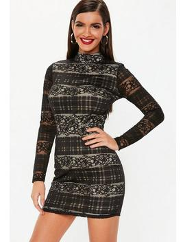 Black Lace High Neck Long Sleeve Mini Dress by Missguided