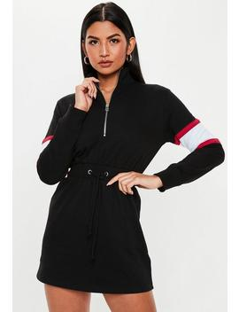 petite-black-contrast-sleeve-casual-dress by missguided