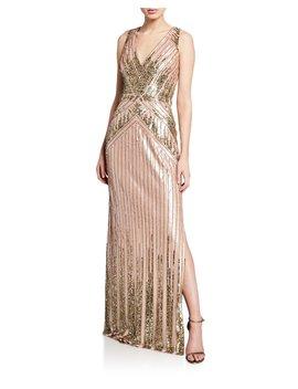 Beaded V Neck Sleeveless Column Gown W/ Slit by Aidan Mattox