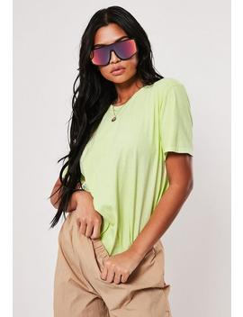 Neon Lime Washed Basic T Shirt by Missguided