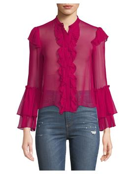 Odele Trumpet Sleeve Ruffle Top by Alice + Olivia